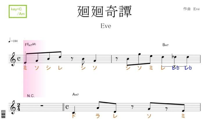 廻廻奇譚 かいかいきたん(Eve)アニメ「呪術廻戦」key C/Am ver./ドレミで歌う楽譜【コード付き】
