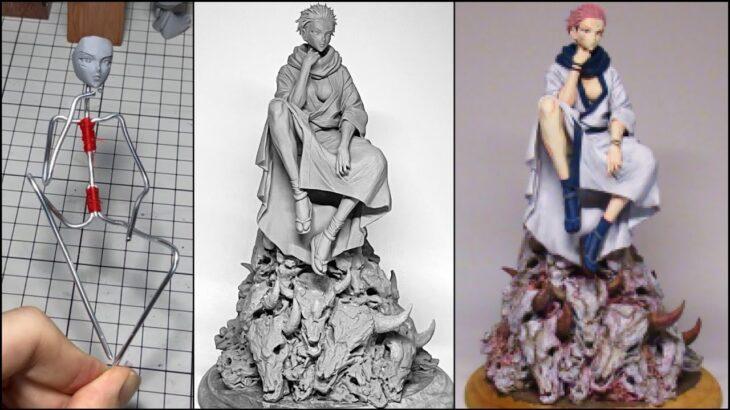 【呪術廻戦】両面宿儺(女体化)のフィギュアを作ってみた【粘土】How to make a figure of Ryomen Sukuna female version.【jujutsu kaisen】