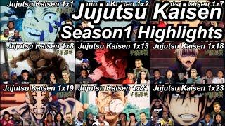 Jujutsu Kaisen Season 1 Reaction Highlights | Great Anime Reactors!!! | 【呪術廻戦】【海外の反応】