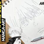 Drawing Satoru Gojo 五条悟 from the manga called Jujutsu Kaisen 呪術廻戦   ArtyCoaty #shorts